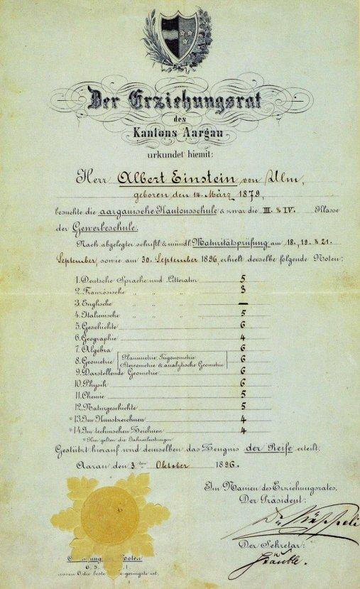 Albert Einstein'ın 1896 yılından kalma karnesi #4