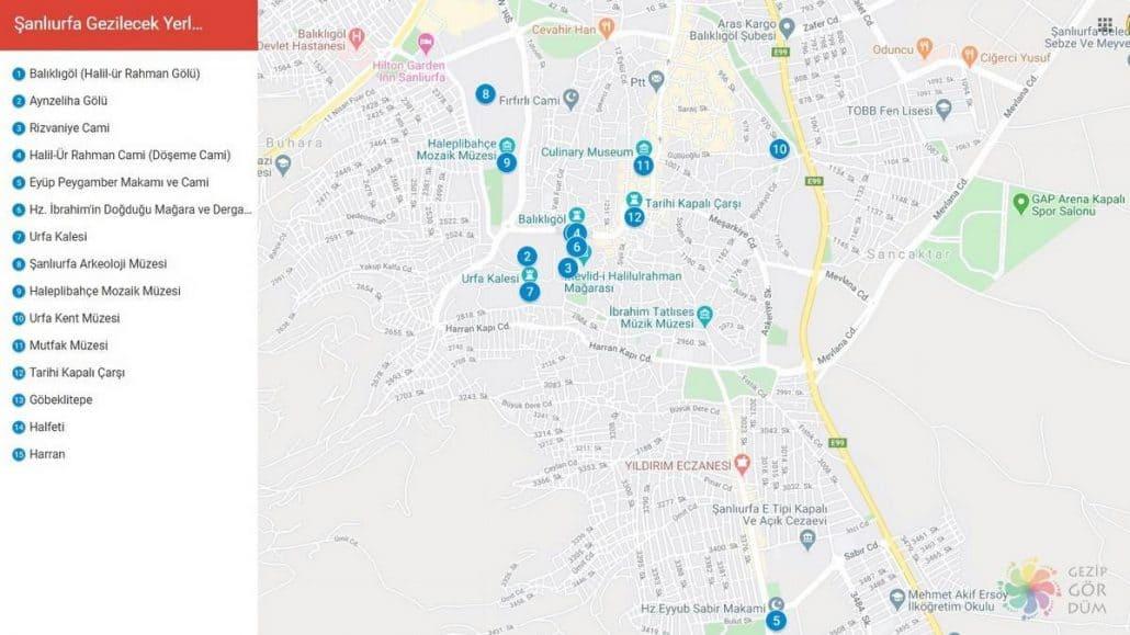 Şanlıurfa gezilecek yerler haritası konumları, Şanlıurfa haritası