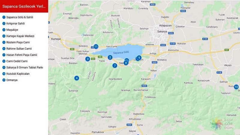 Sapanca haritası, Sapanca gezilecek yerler listesi konumları